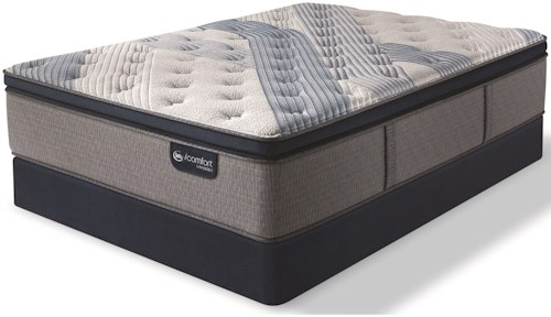 Serta iComfort Hybrid Blue Fusion 1000 Plush PT Twin Extra Long Plush Pillow Top Hybrid Mattress and Blue Fusion High Profile Foundation