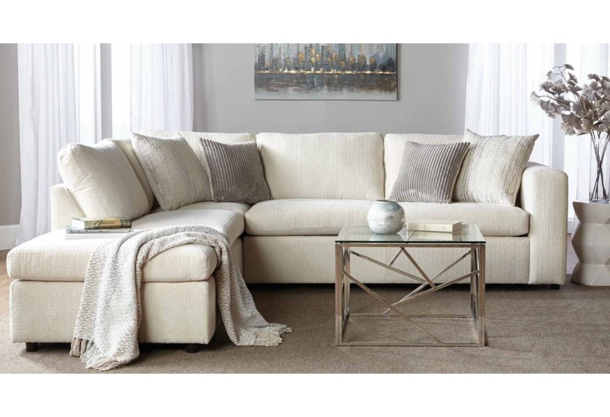 1100 Casual Contemporary Sectional Sofa with Chaise by Serta Upholstery by  Hughes Furniture at Stoney Creek Furniture
