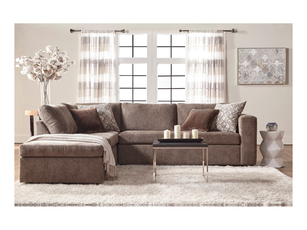 Angora Casual Contemporary Sectional Sofa with Chaise by Serta Upholstery  at Rotmans