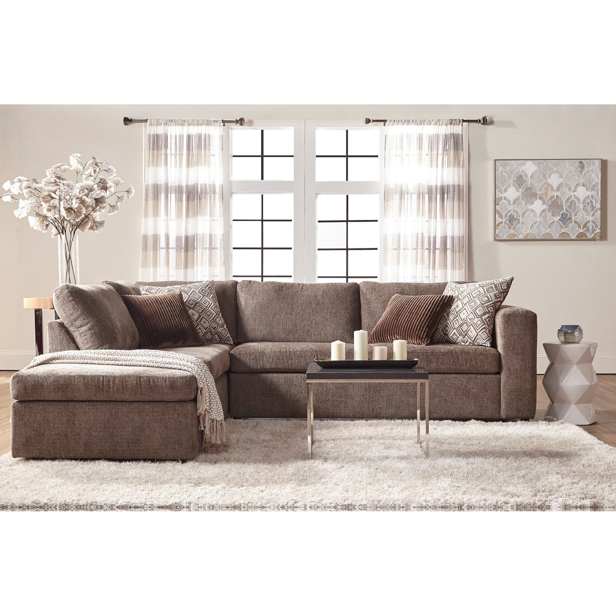 Delicieux Angora Casual Contemporary Sectional Sofa With Chaise By Serta Upholstery