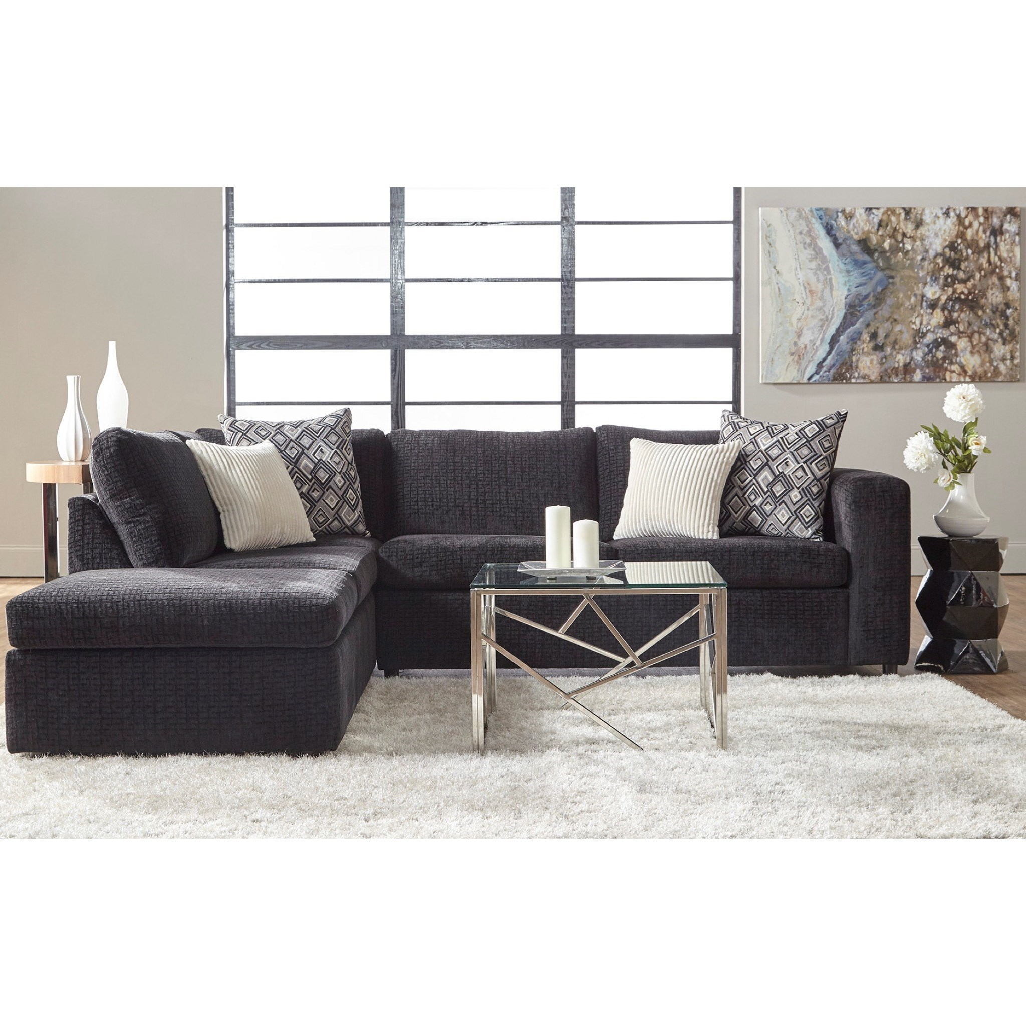 Serta Upholstery By Hughes Furniture 1100 Casual Contemporary Sectional Sofa  With Chaise