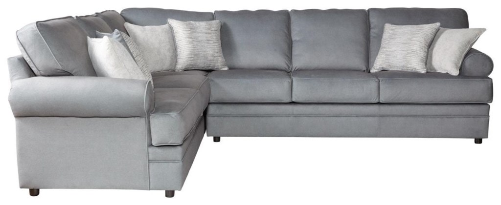 Serta Upholstery Clapton 2pc Sectional Sofa W Rolled Arms Rotmans