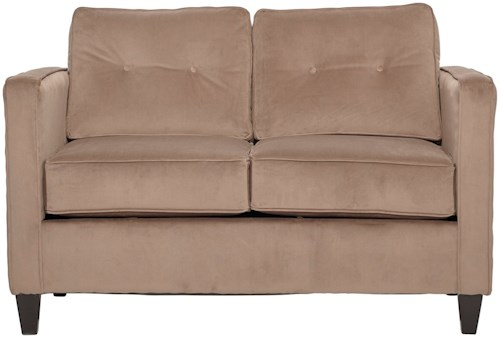 Serta Upholstery 1365 Contemporary Stationary Love Seat with Tufted Seatback