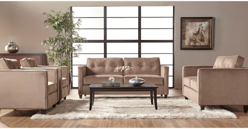 Serta Upholstery 1365 Contemporary Stationary Living Room Group with Tufted Seatbacks