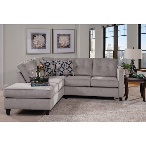 Serta Upholstery by Hughes Furniture 1375 Contemporary Sectional with Chaise Lounge