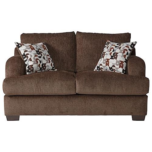 Serta Upholstery 14100 Transitional Loveseat with Block Feet