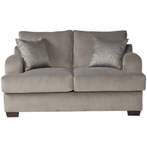 Serta Upholstery 14100 Transitional Loveseat with Block Feet
