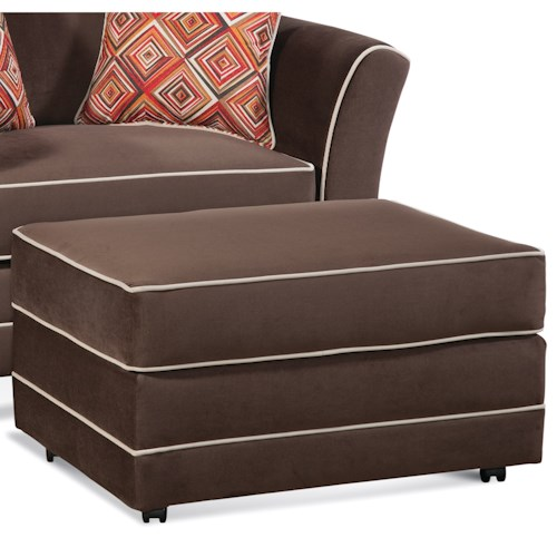 Serta Upholstery by Hughes Furniture 2650 Transitional Upholstered Ottoman with Accent Welt