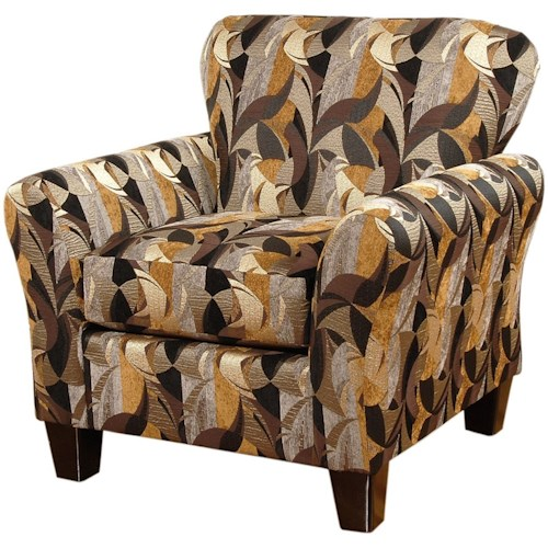 Hughes Furniture 3010 Upholstered Chair with Flare Tapered Arms