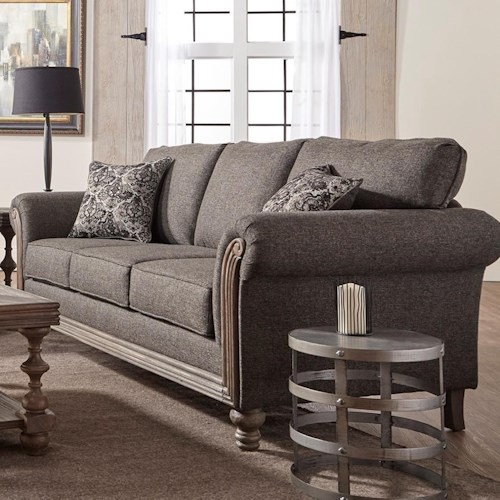 Serta Upholstery by Hughes Furniture 3400 Traditional Stationary Sofa with Rolled Arms