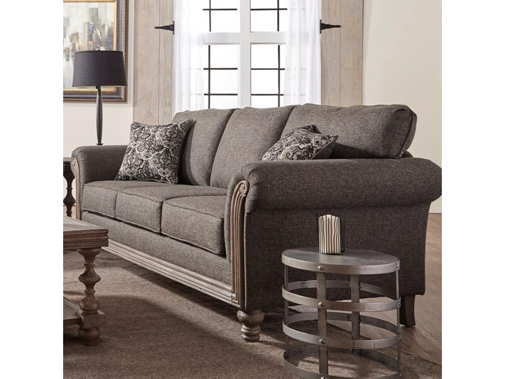 Belmont Traditional Stationary Sofa with Rolled Arms by Serta Upholstery at  Rotmans
