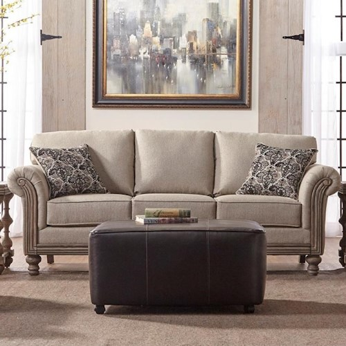 Serta Upholstery Belmont Traditional Stationary Sofa with Rolled Arms