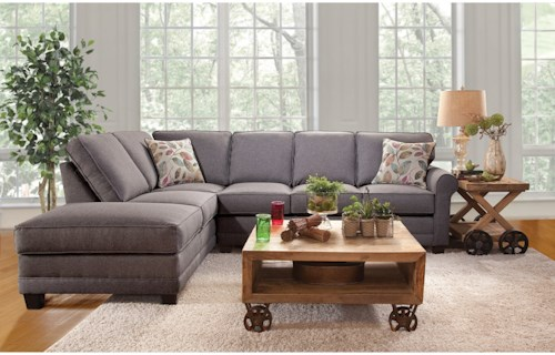 Serta Upholstery 3700 Casual Sectional Sofa with Chaise