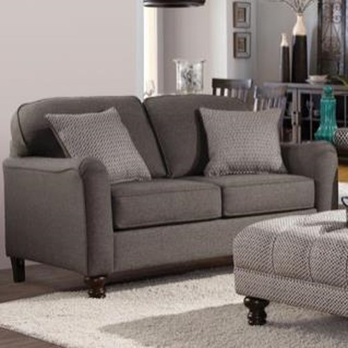 Serta Upholstery Pemberly Transitional Loveseat with Turned Legs