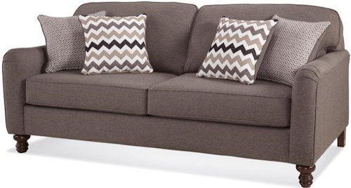 Serta Upholstery Pemberly Transitional Sofa with Turned Feet
