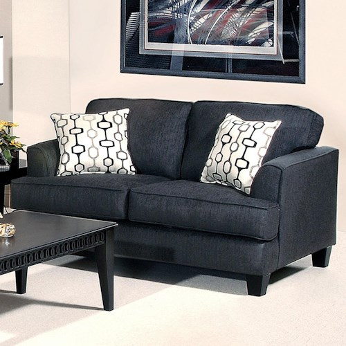Serta Upholstery by Hughes Furniture 5600 Transitional Love Seat with Accent Pillows