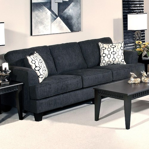 Serta Upholstery by Hughes Furniture 5600 Contemporary Sofa with Accent Pillows