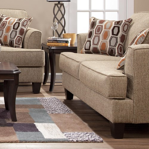 Hughes Furniture 5600 Transitional Love Seat with Accent Pillows