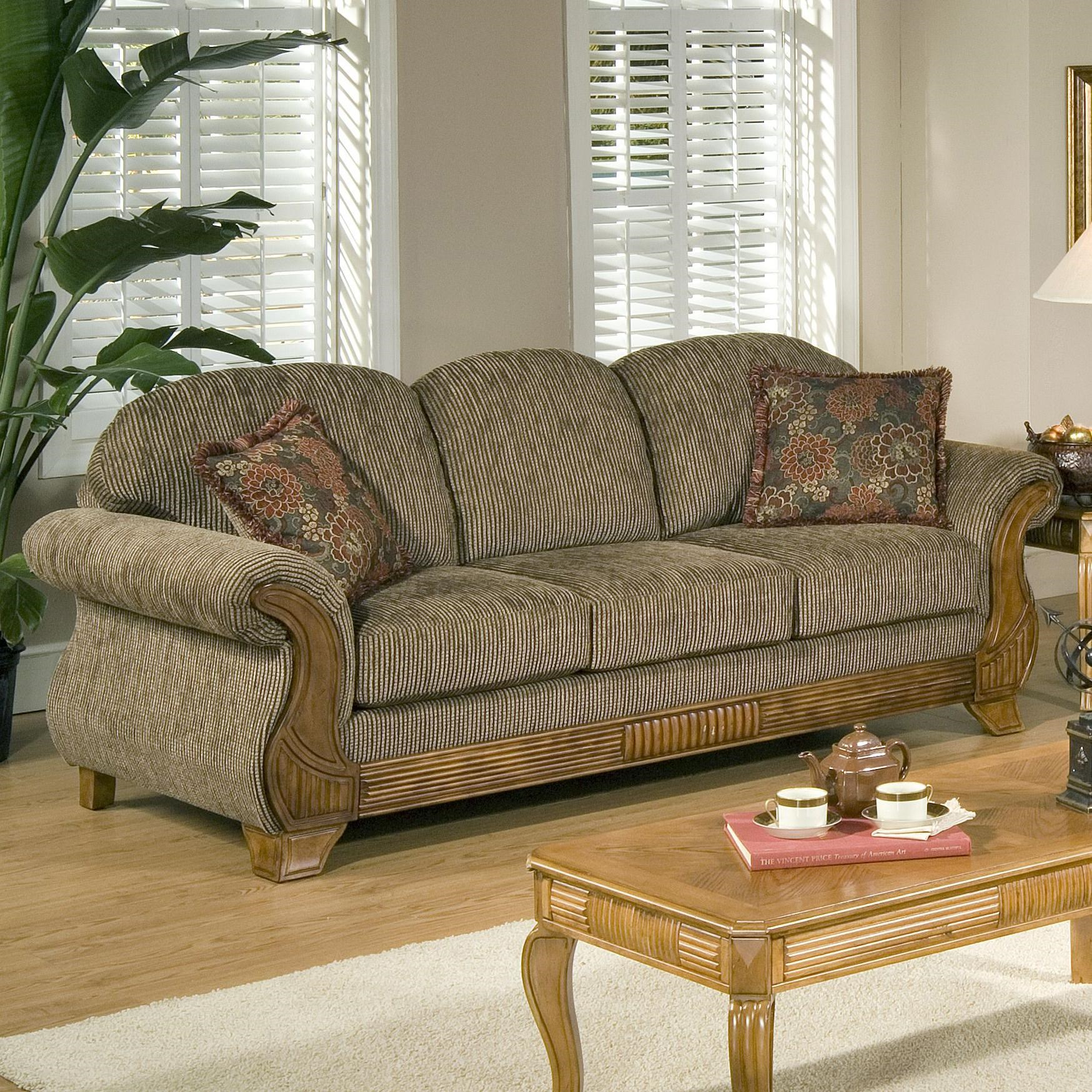 Serta Upholstery By Hughes Furniture 7400 Traditional Sofa With Classic  Wood Face Accents Part 9