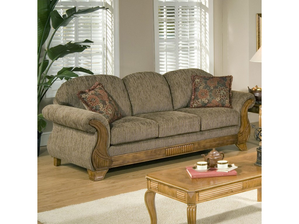 7400 Traditional Sofa with Classic Wood Face Accents by Serta Upholstery by  Hughes Furniture at Rooms for Less