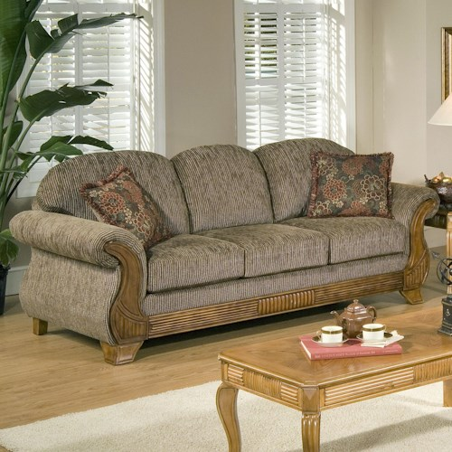 Serta Upholstery by Hughes Furniture 7400  Traditional Sofa with Classic Wood Face Accents