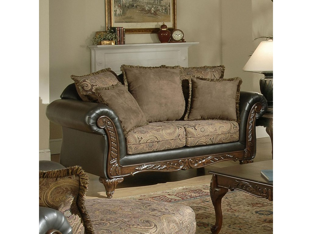 Serta Upholstery by Hughes Furniture 7685Wood Face Love Seat