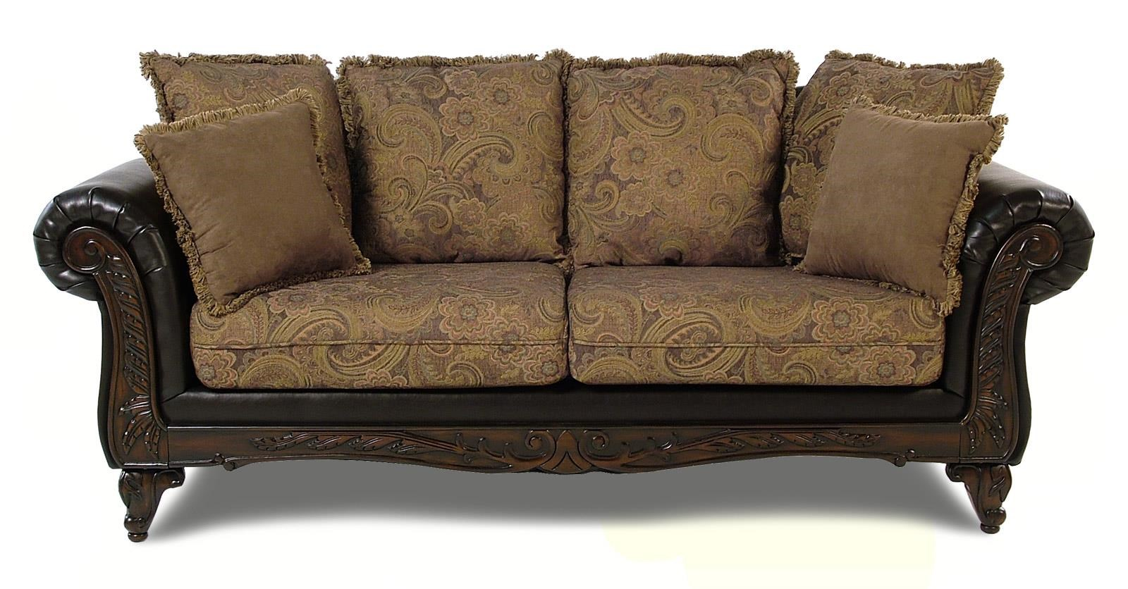 Serta Upholstery Monaco Pillow Back Sofa With Carved Wood Face