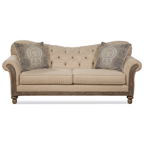 Serta Upholstery by Hughes Furniture 8725 Traditional Stationary Sofa with Tufted Seatback