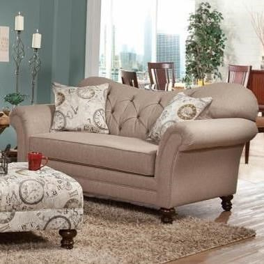 Hughes Furniture 8750 Loveseat with Diamond Tufting