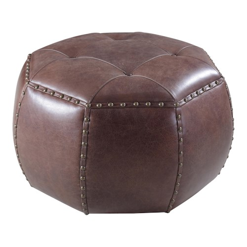 Hamilton Home Accent Ottomans Transitional Octagonal Ottoman with Nailhead Detailing