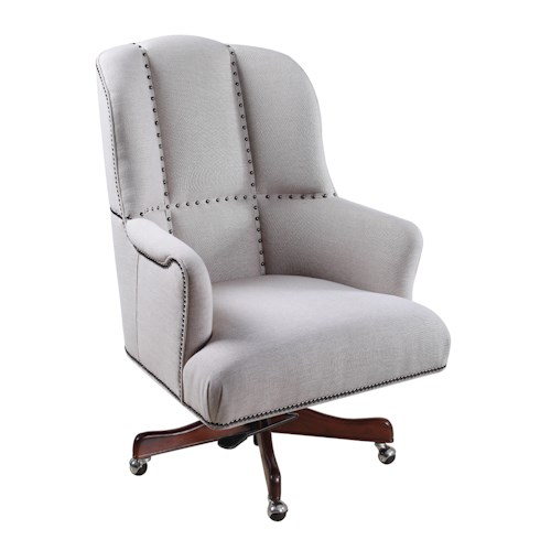 Hooker Furniture Executive Seating Transitional Swivel Tilt Executive Chair with Unique Nailhead Design