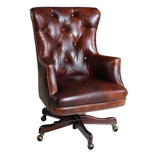 Hooker Furniture Executive Seating Transitional Executive Swivel Tilt Chair with Button Tufting and Nailheads