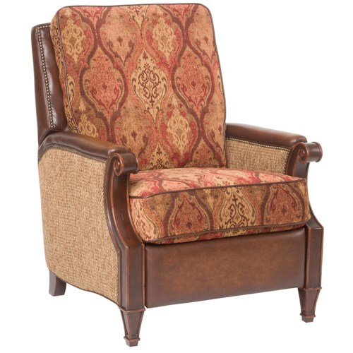 Hooker Furniture Seven Seas Seating - Reclining Chairs Recliner Chair with Accent Upholstered Seat and Backrest, Leather Trim and Brass Nail Heads