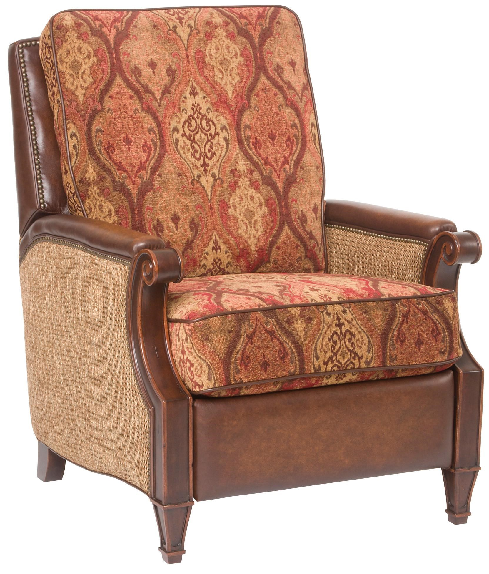 Hooker Furniture Reclining Chairs Recliner Chair With Accent Upholstered  Seat And Backrest, Leather Trim And Brass Nail Heads