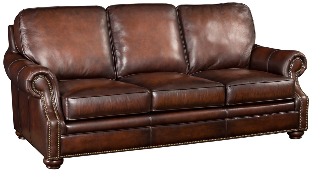Hooker Furniture Ss185 Ss185 03 089 Brown Leather Sofa With Wood  ~ Brown Leather Sofa Chair