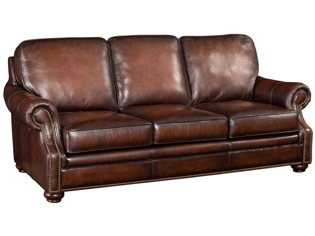 SS185 Brown Leather Sofa with Wood Exposed Bun Foot by Hamilton Home at  Rotmans