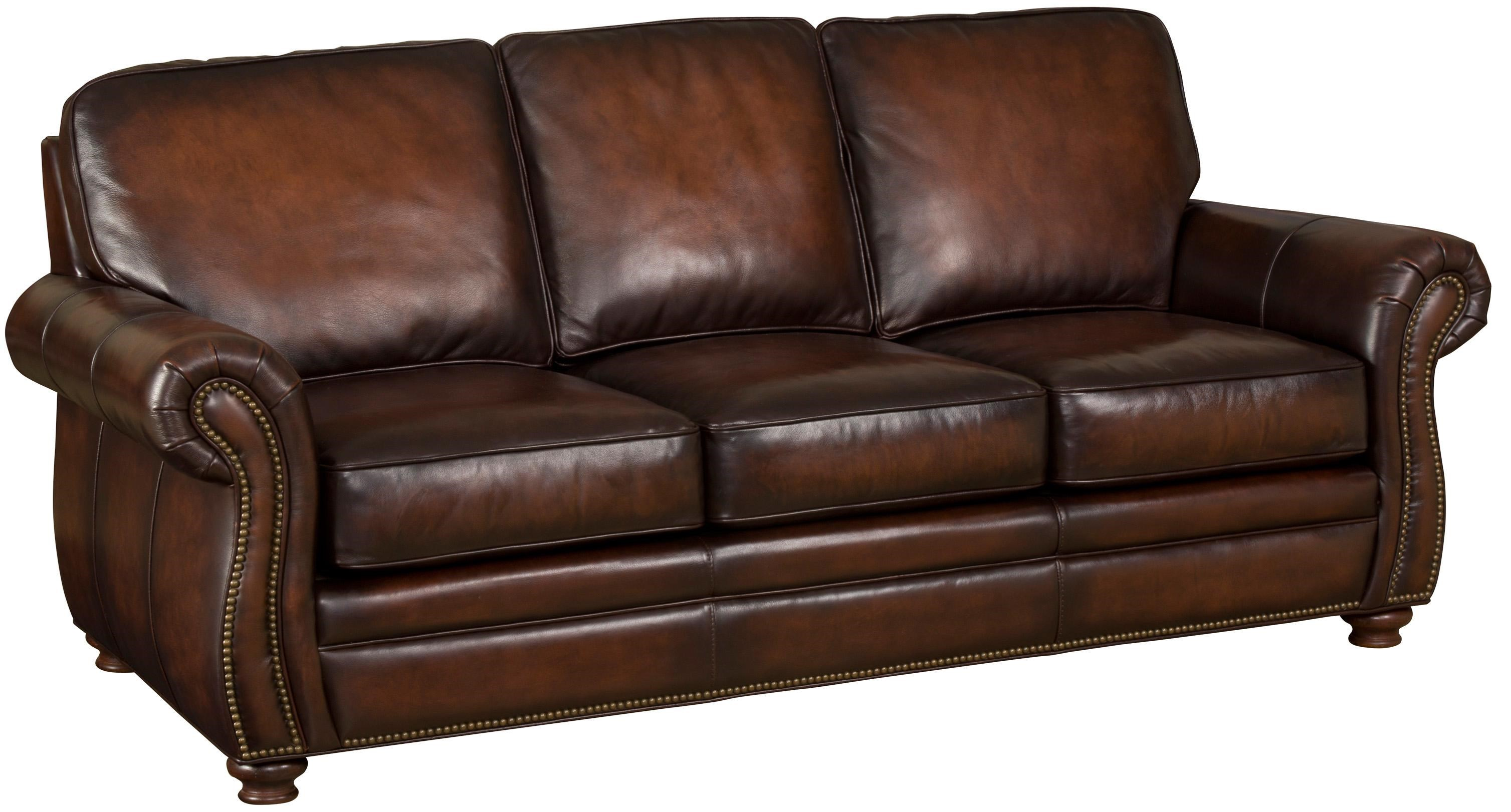 Hamilton Home SS186 Brown Leather Sofa With Exposed Wood Bun Feet