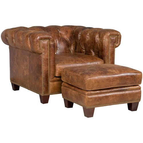Hooker Furniture SS195-087 Transitional Chesterfield Chair and Ottoman Set