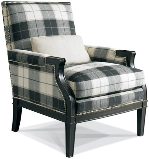 Sherrill 1108 Upholstered Chair with Carved Wood Detail and Nails