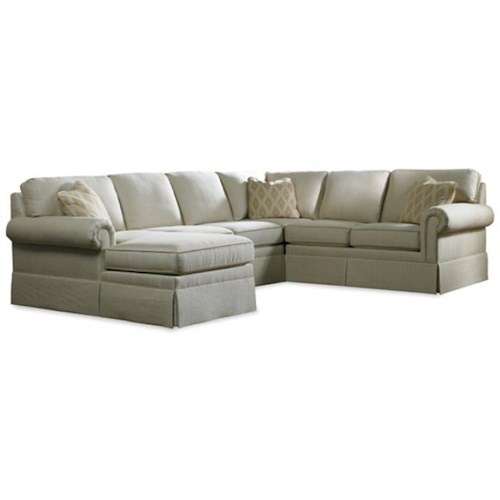 Sherrill 3085 Skirted Six Piece Sectional Sofa with LAF Chaise