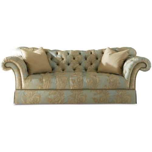 Sherrill 5250 Traditional Skirted Sofa with Tufted Sweetheart Back and Nailheads