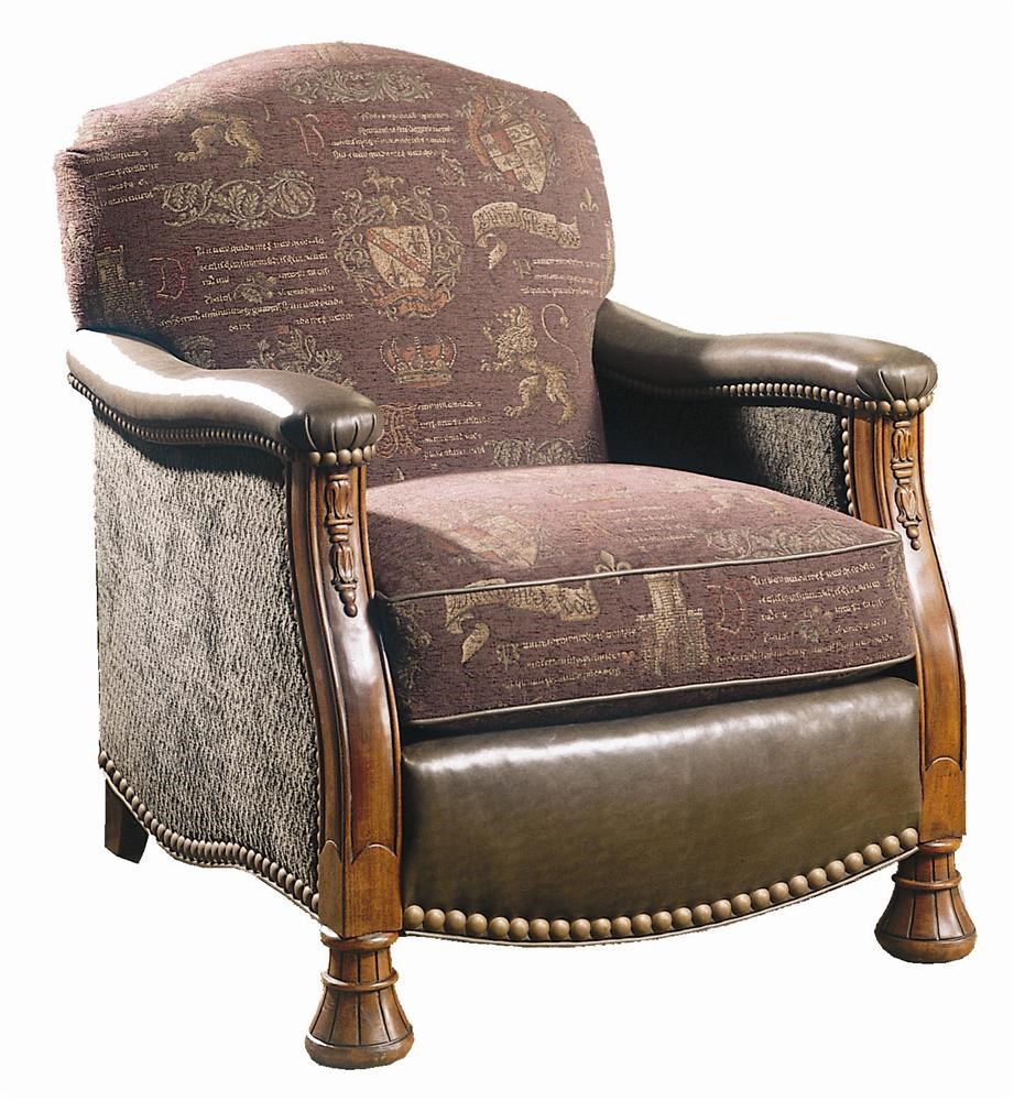 Sherrill Masterpiece Leather And Fabric, Carved Lounge Chair With Nailhead  Trim