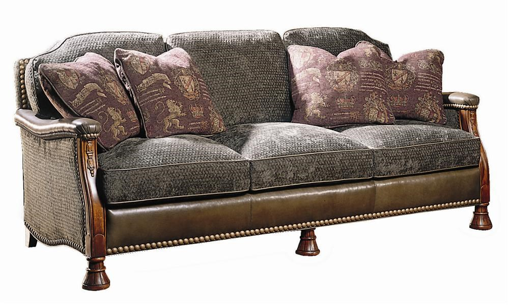 Sherrill Masterpiece Elegant Carved Sofa With Leather And Fabric