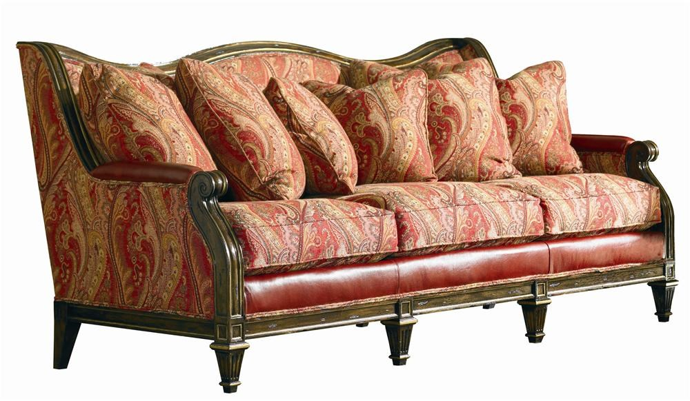 Sherrill Masterpiece Curled Carved Wood Sofa With Leather And Fabric