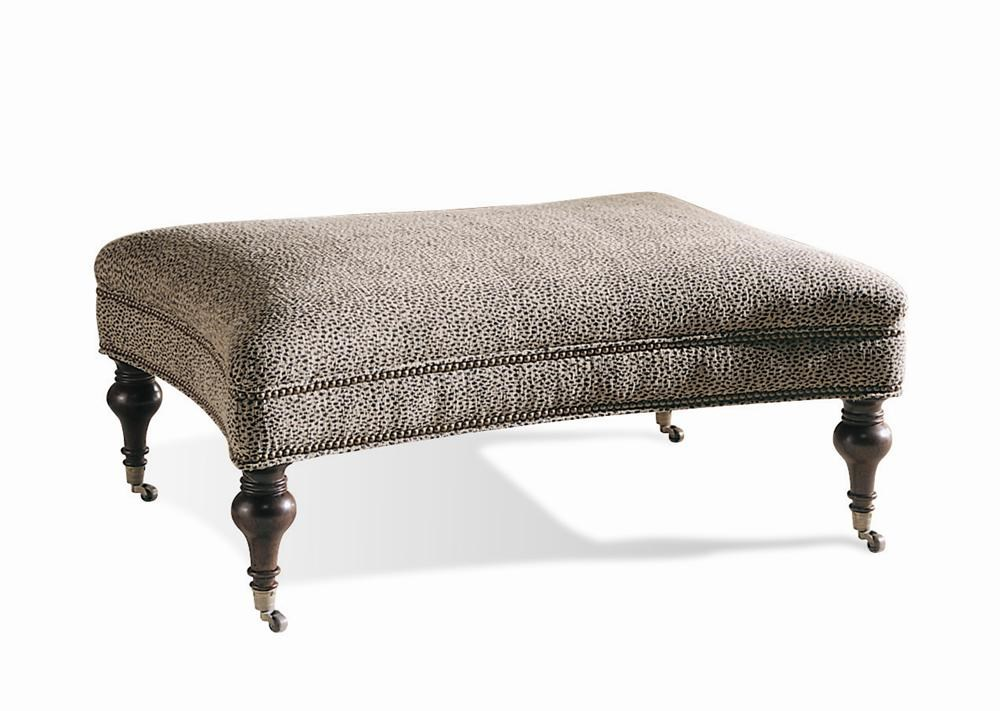 sherrill traditional upholstered with nailhead trim and turned post legs with casters - Upholstered Ottoman