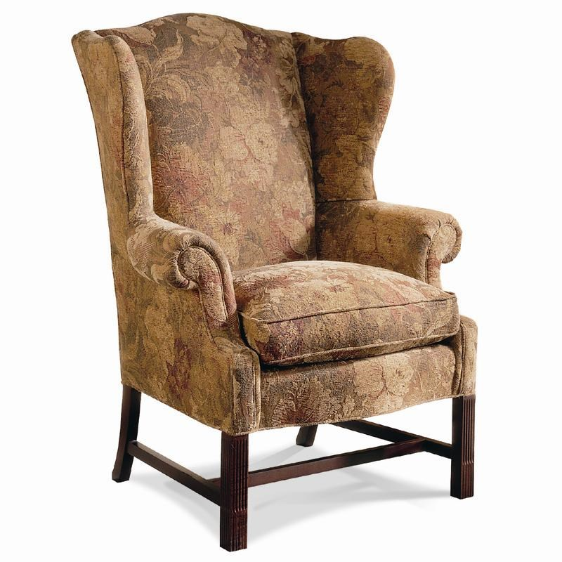 sherrill traditional chippendale wing chair with stretcher base and box seat cushion