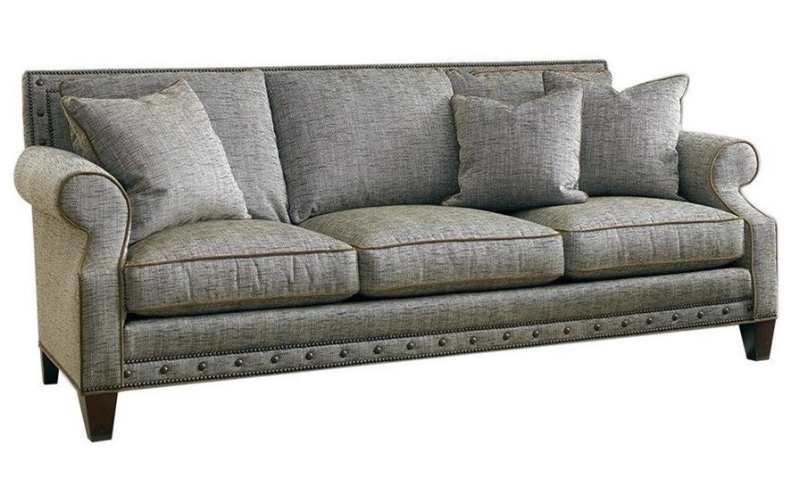 Sherrill Traditional Rolled Arm Sofa With Framed Back And Custom Nailheads