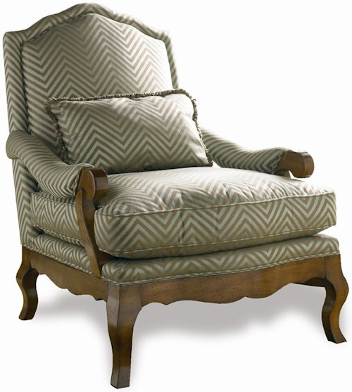 Sherrill Traditional French Loung Chair with Carved Wood Frame