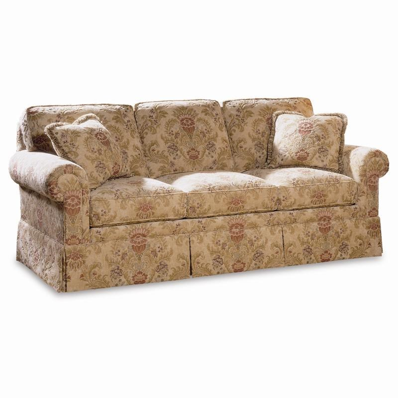 Great Sherrill Traditional Sofa With Loose Cushion Back And Round Panel Arms