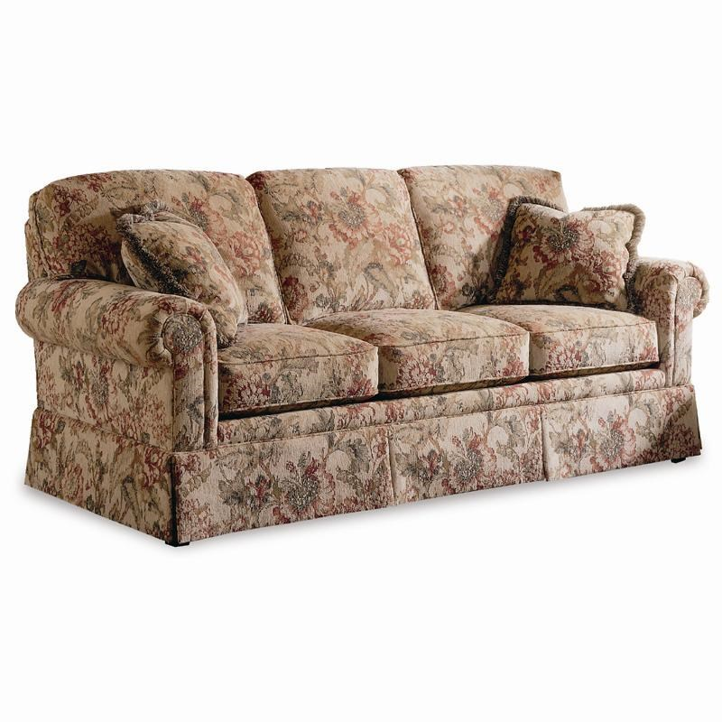 Sherrill Traditional Lawson Sleep Sofa With Rolled Arms And Skirt